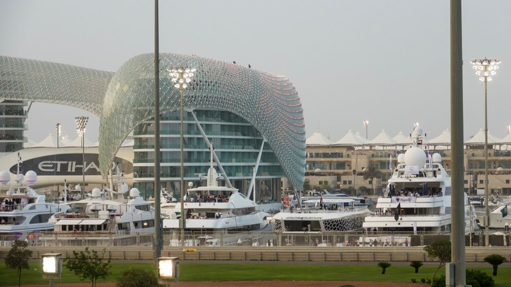 The lights were just starting to come on on the Yas Viceroy Abu Dhabi Hotel.