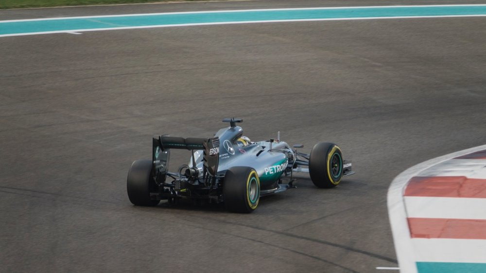 Lewis Hamilton in the Mercedes.