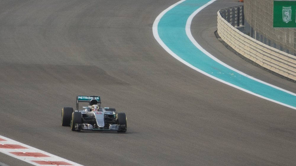 Lewis Hamilton flying along the course.