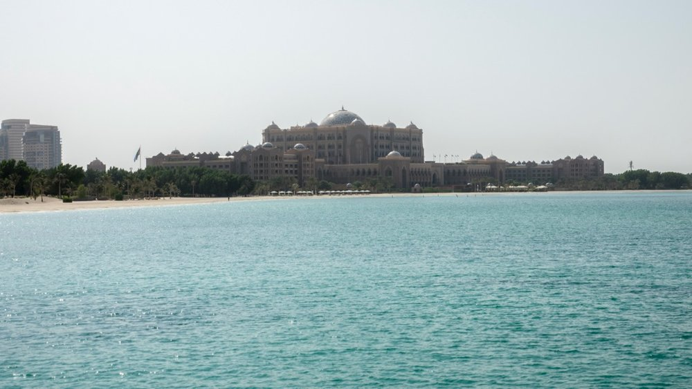 Emirates Palace, as seen from a distance.