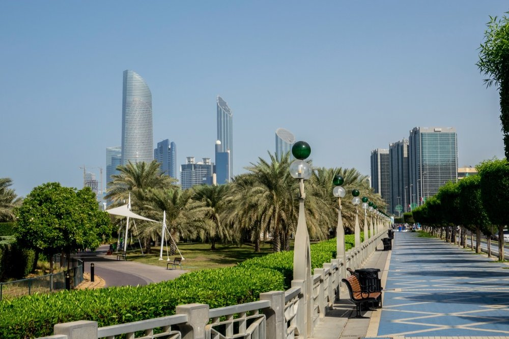 Walking along the Corniche.