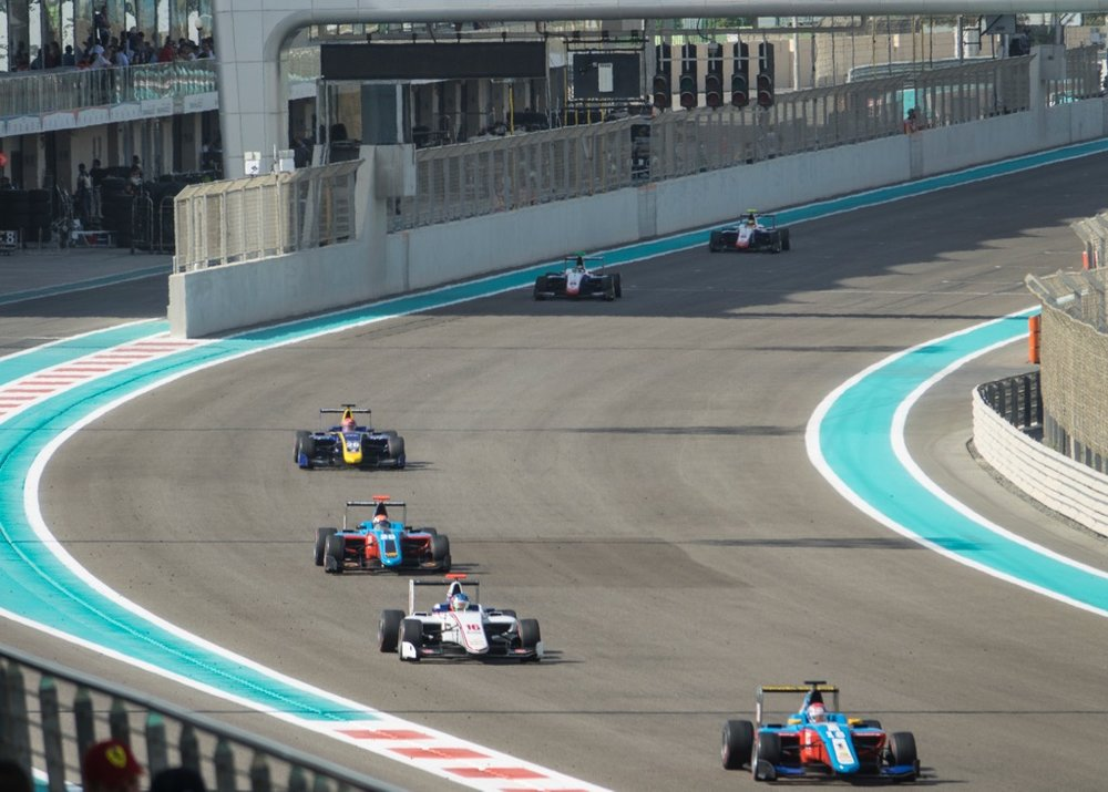 The GP3 cars out on the circuit.