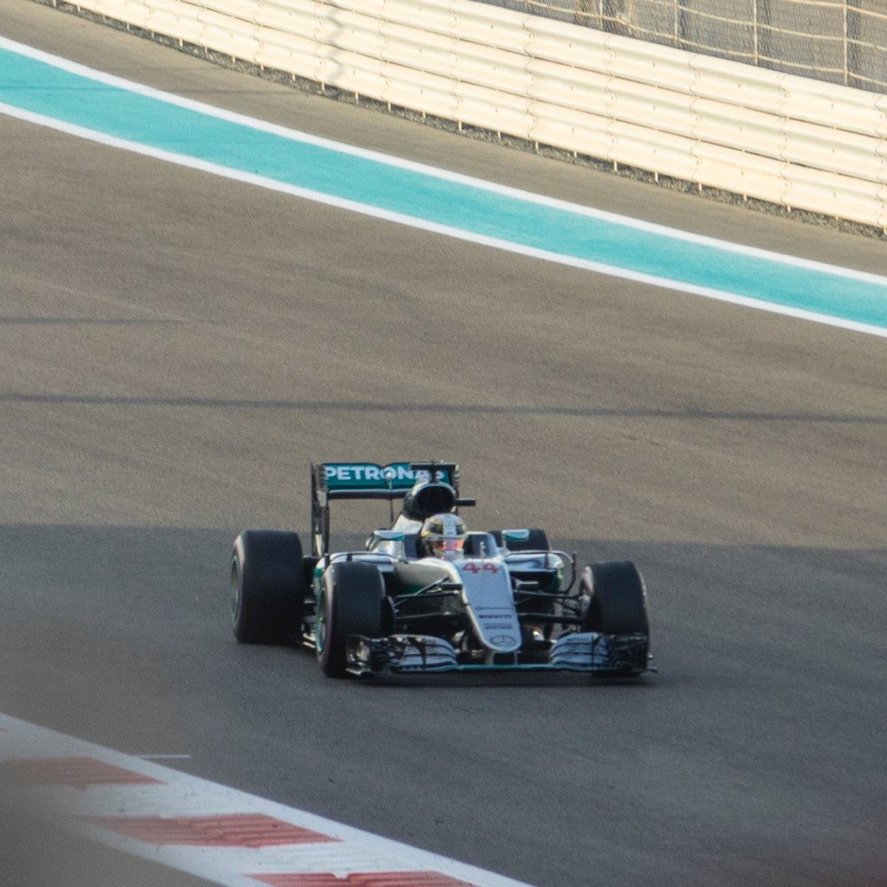 Hamilton doing some warm up laps before the race.