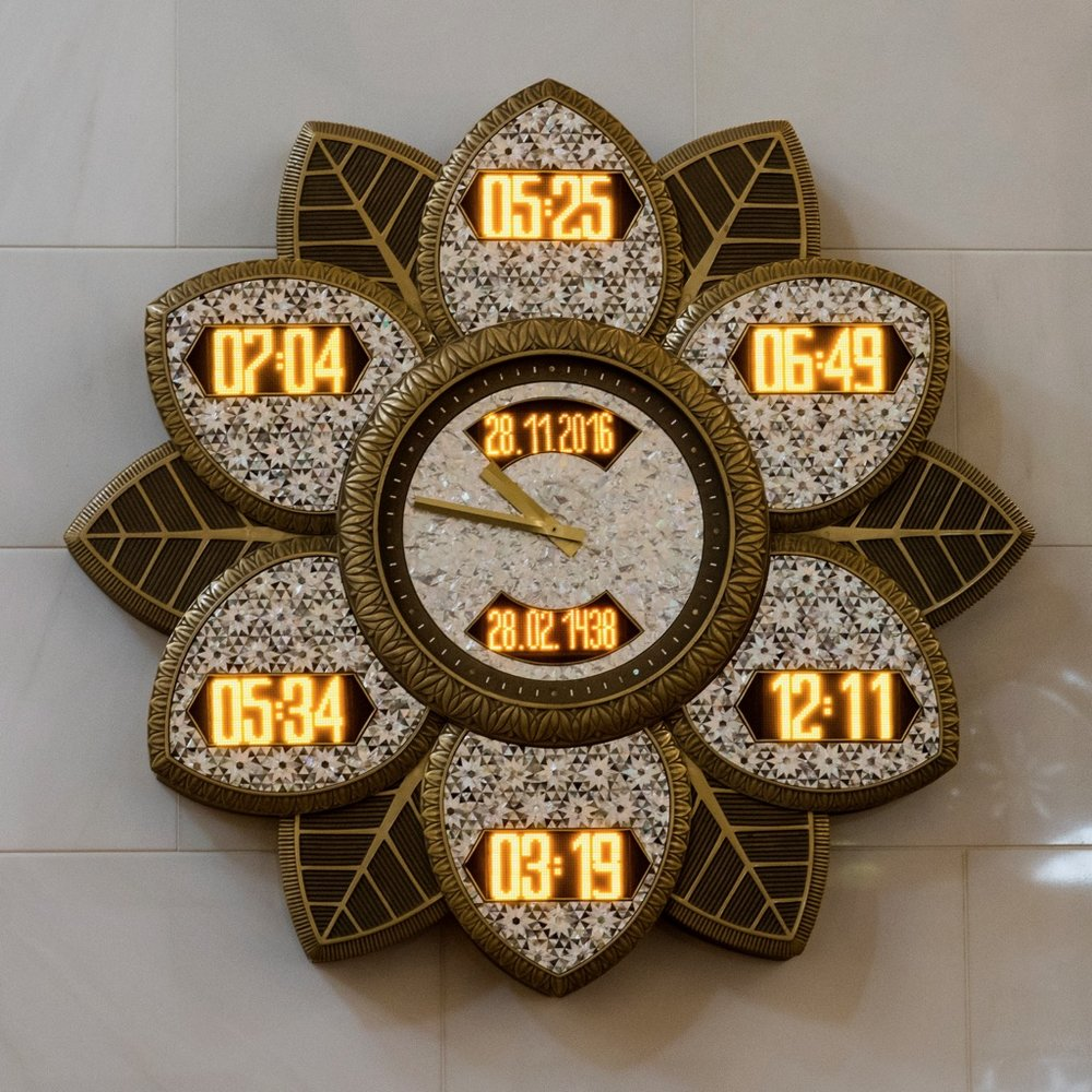 The supercool clock that keeps track of the times of the daily prayers.