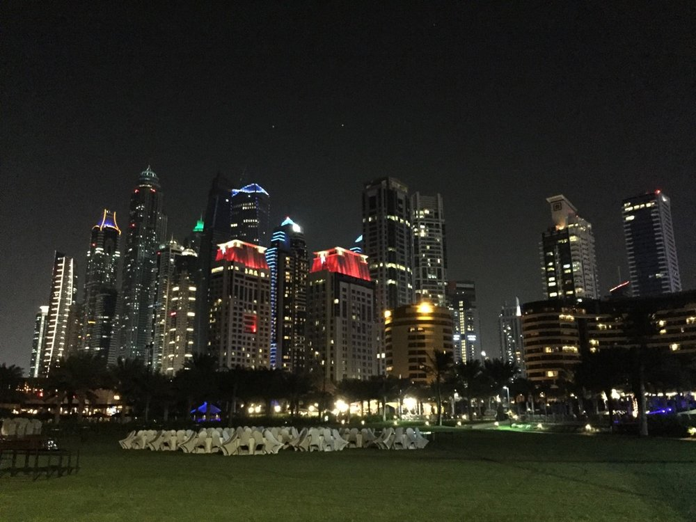 The Dubai skyline might be better at night than during the day.