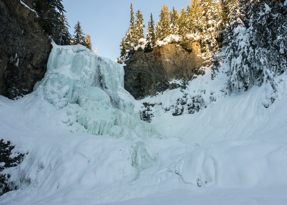 The goal of our hike - Alexander Falls, all frozen over and covered in ice.
