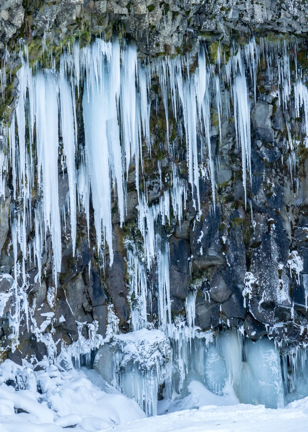 The one side of the rock face was covered in the craziest icicles.