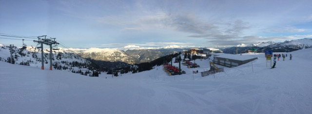 Panoramic view of Whistler from the top of Red Chair.