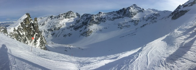 Panoramic view of the Blackcomb glacier. Best run of the day.