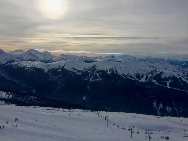Looking out across 7th Heaven to Whistler Mountain, with Black Tusk in the distance. What an amazing day.