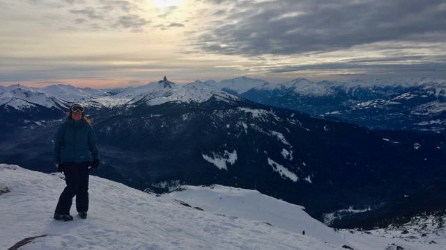 At the top of Peak Chair on Whistler, for our last run of the day.
