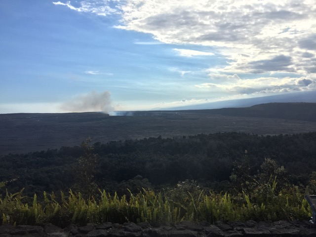 The crater of the Kilauea volcano, from Volcano House