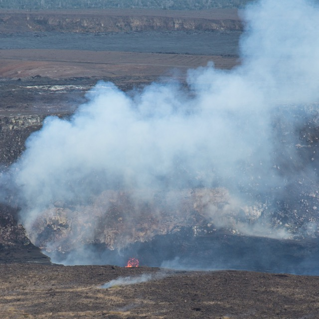From the viewing area at the Jaggar Museum, you could clearly see lava in the Kilauea volcano crater