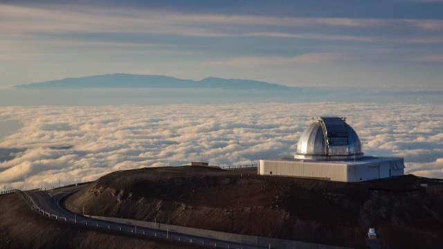 Above the clouds, looking back to Haleakala on Maui