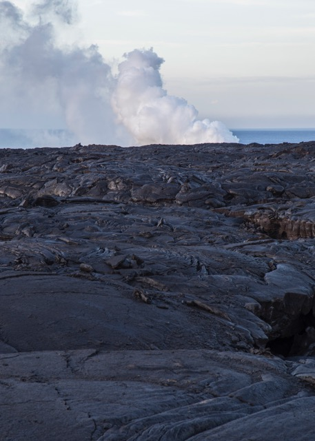 Looking back across the old lava flows, to where the fountain was entering the ocean.