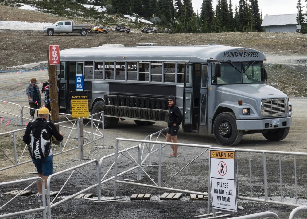 Ski bus over to the lifts