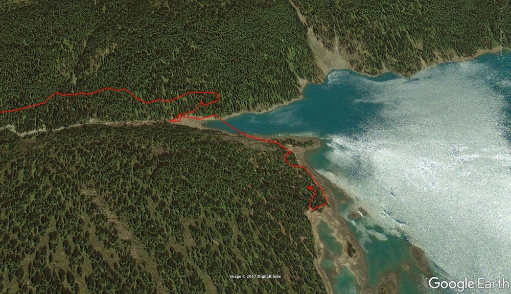 Google Earth view of our hike up to the lake.
