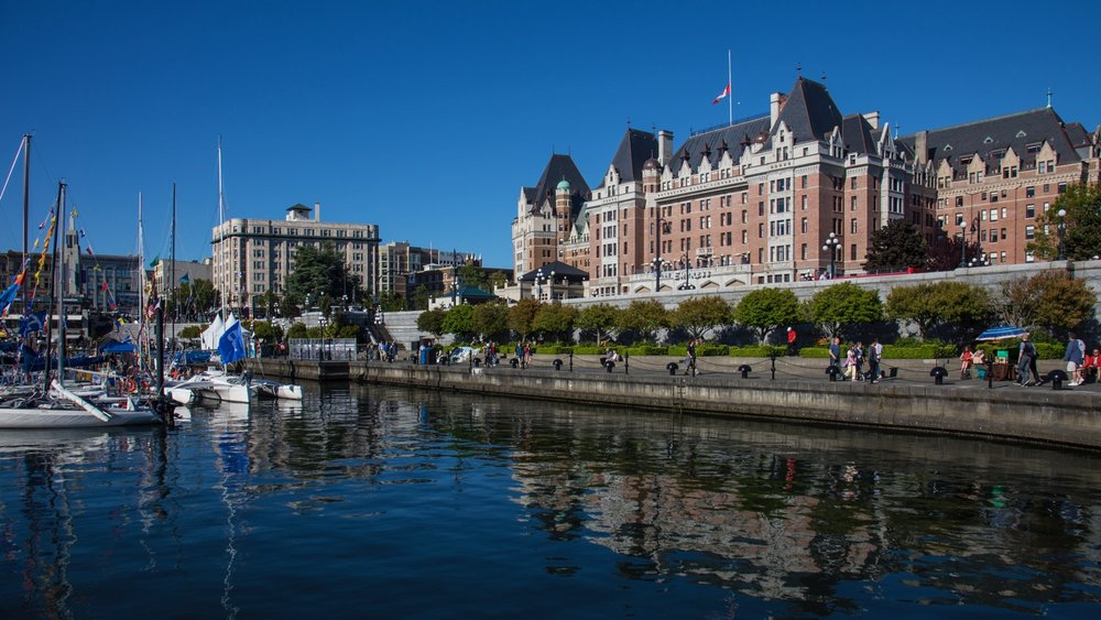 View from the ferry docks, back to the famous Empress Hotel.