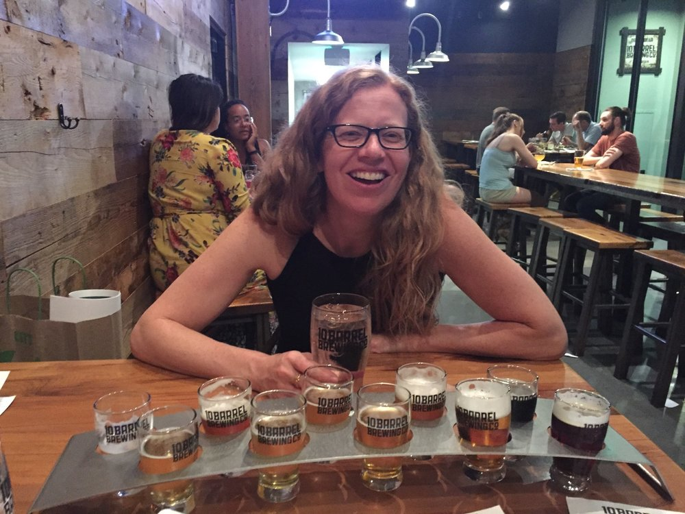 We shared the 10-beer taster - it had already been a big night.