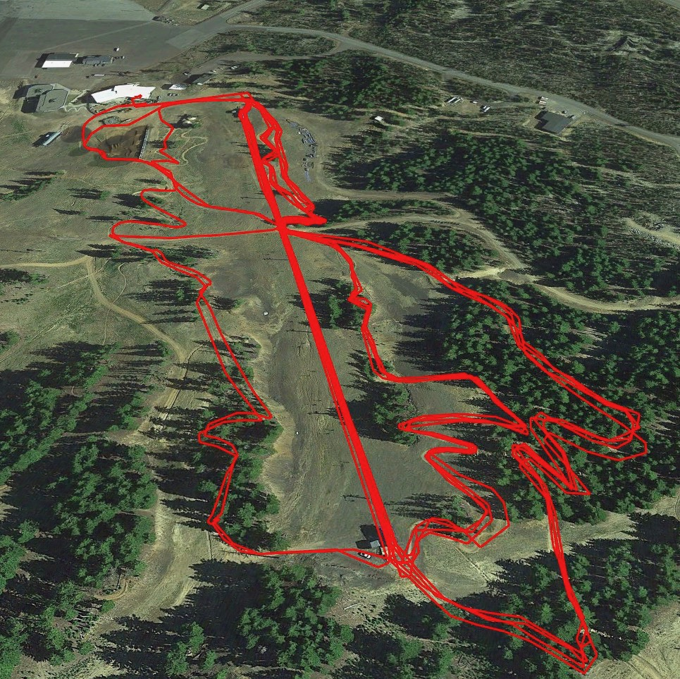 A snapshot of all the runs we did on the bike park slopes. Only one crash for me, so I'll call that a win!