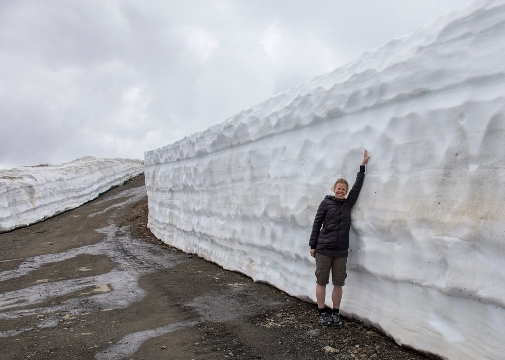 Even low down, the snow walls were pretty big.