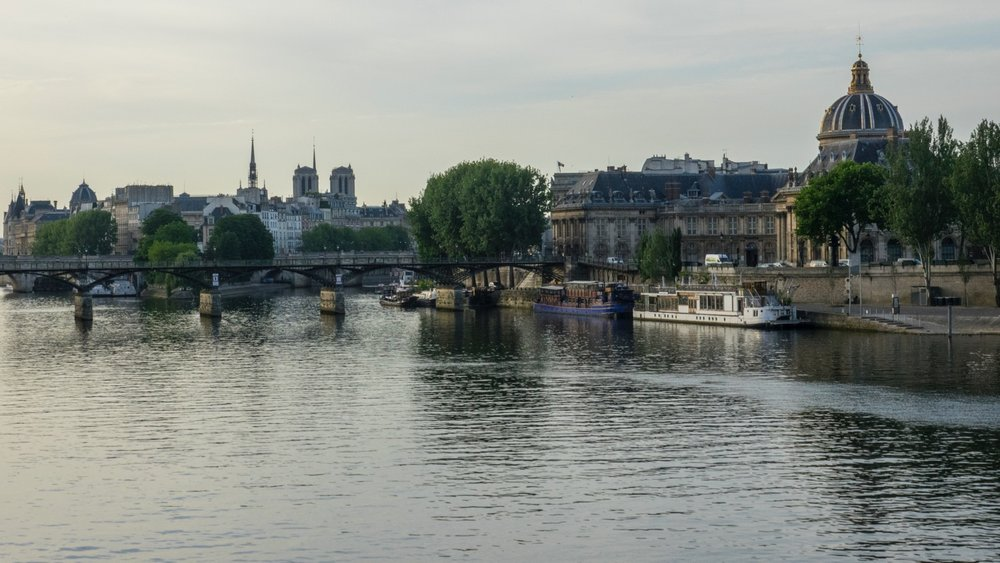 The view towards the Ile de la Cite. You can see Notre Dame in the distance.