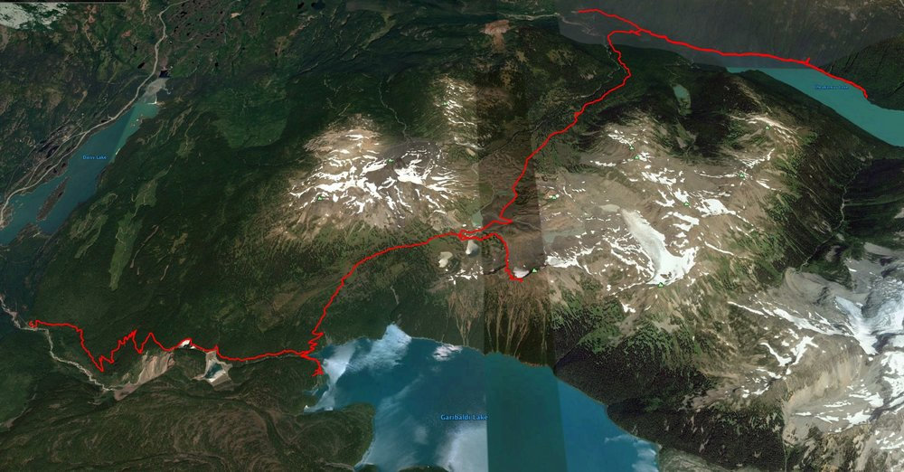 The Google Earth map of the full hike. I'll breakdown the trip over the four days.