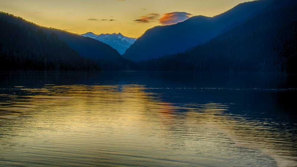 Sunset over Cheakamus Lake.
