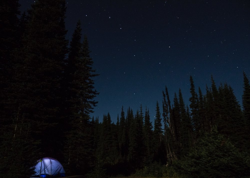 Our tent, and the Big Dipper. It was a cold, clear night.