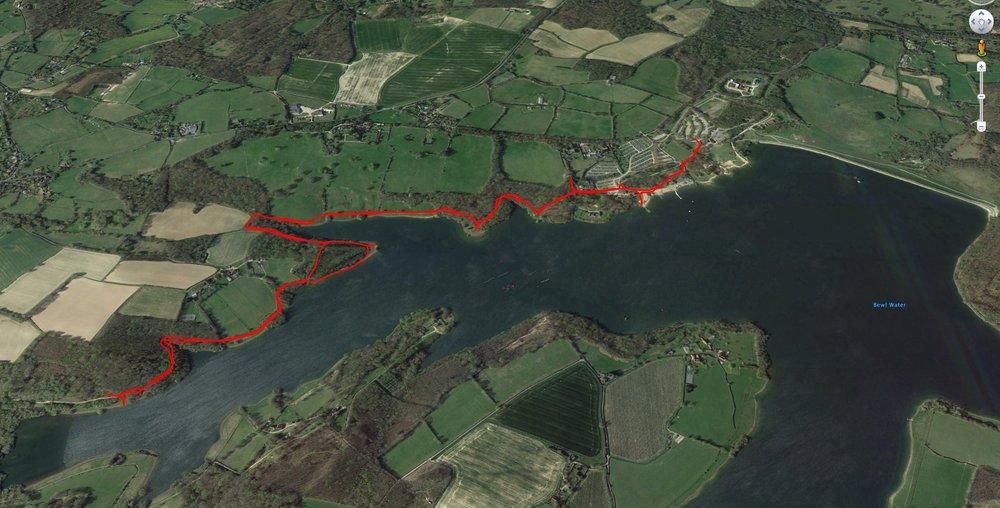 A map of my run arounf Bewl Water