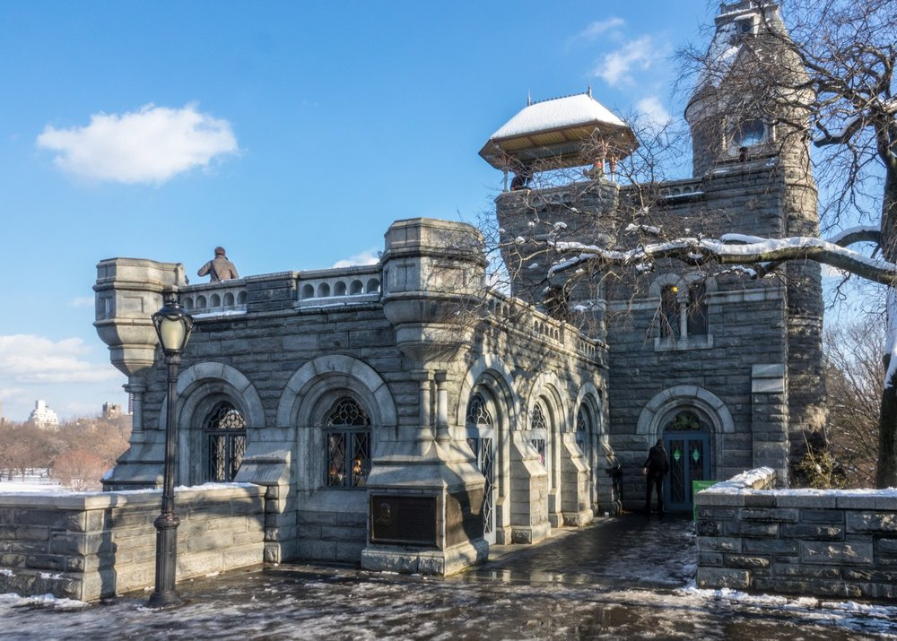 Belvedere Castle is a Gothic & Romanesque castle from 1869 set on Vista Rock, the park's highest point.