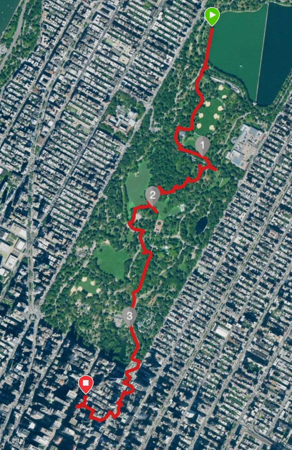 A map of our walk around the park.