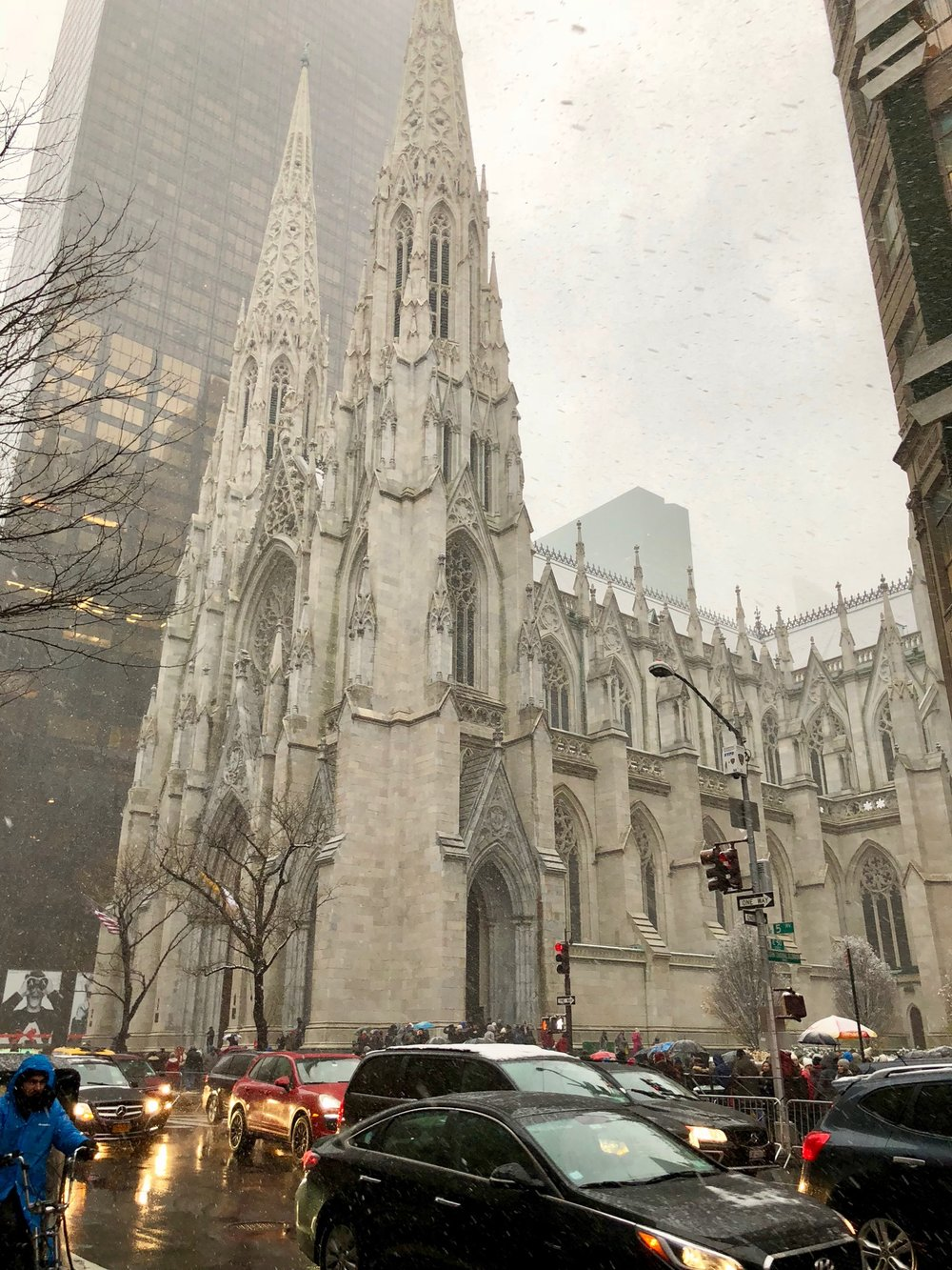 St. Patrick's Cathedral, the towering Neo-Gothic church from 1879 with twin spires and storied history opposite Rockefeller Center.