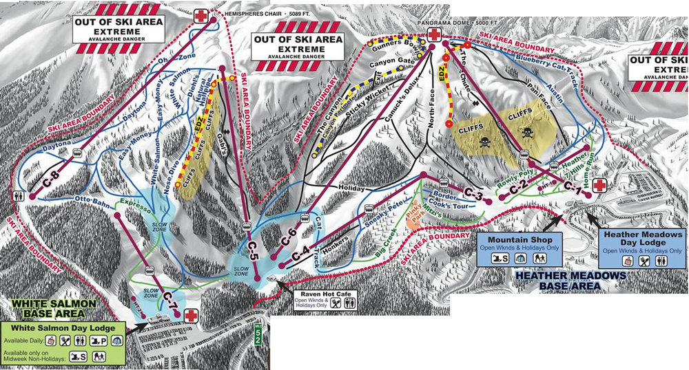 The trail map for Mount Baker. We ended up skiing the C-8/C-7 lifts most of the first day as the visibility wasn't very good. We skied both mountains the second day once the skies cleared.
