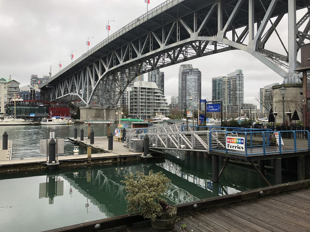 I've definitely never seen the docks at Granville Island level - normally the walk down is quite steep!