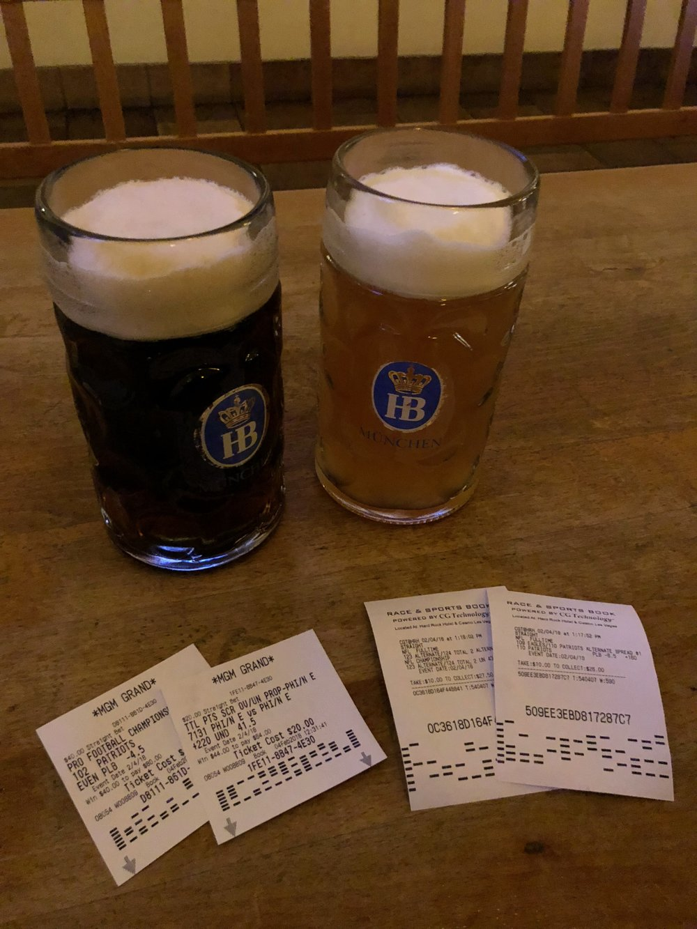Beer and bets on the game - none of which worked out...