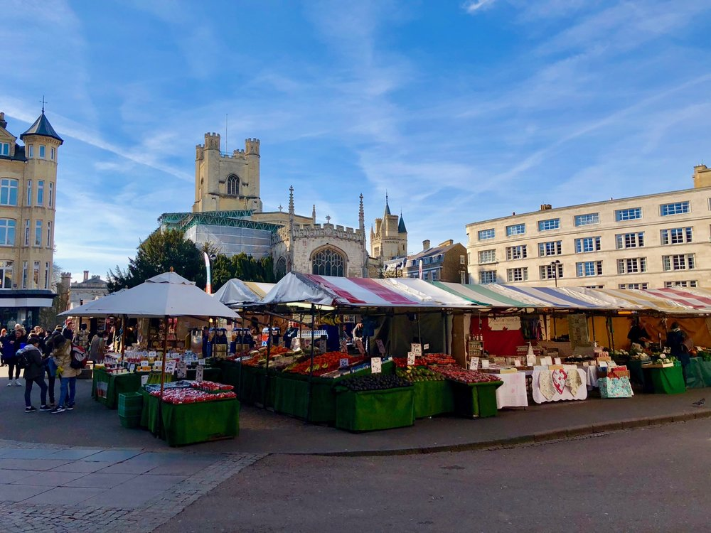 The market in the center of Cambridge.