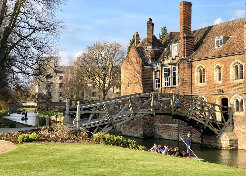 The Mathematical Bridge, a wooden footbridge over the River Cam connecting two parts of Queens' College. The bridge was built in 1749, and has been rebuilt on two occasions, in 1866 and in 1905, but has kept the same overall design.