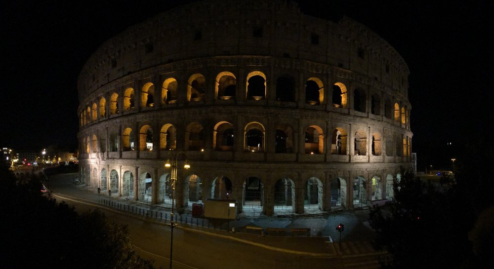 My first view of the Colosseum at night.