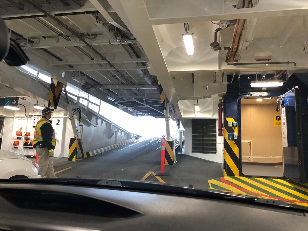 On the ferry back home, we got shuttled to the lower deck. This ferry is quite cool - ramps open and close to access the lower deck!