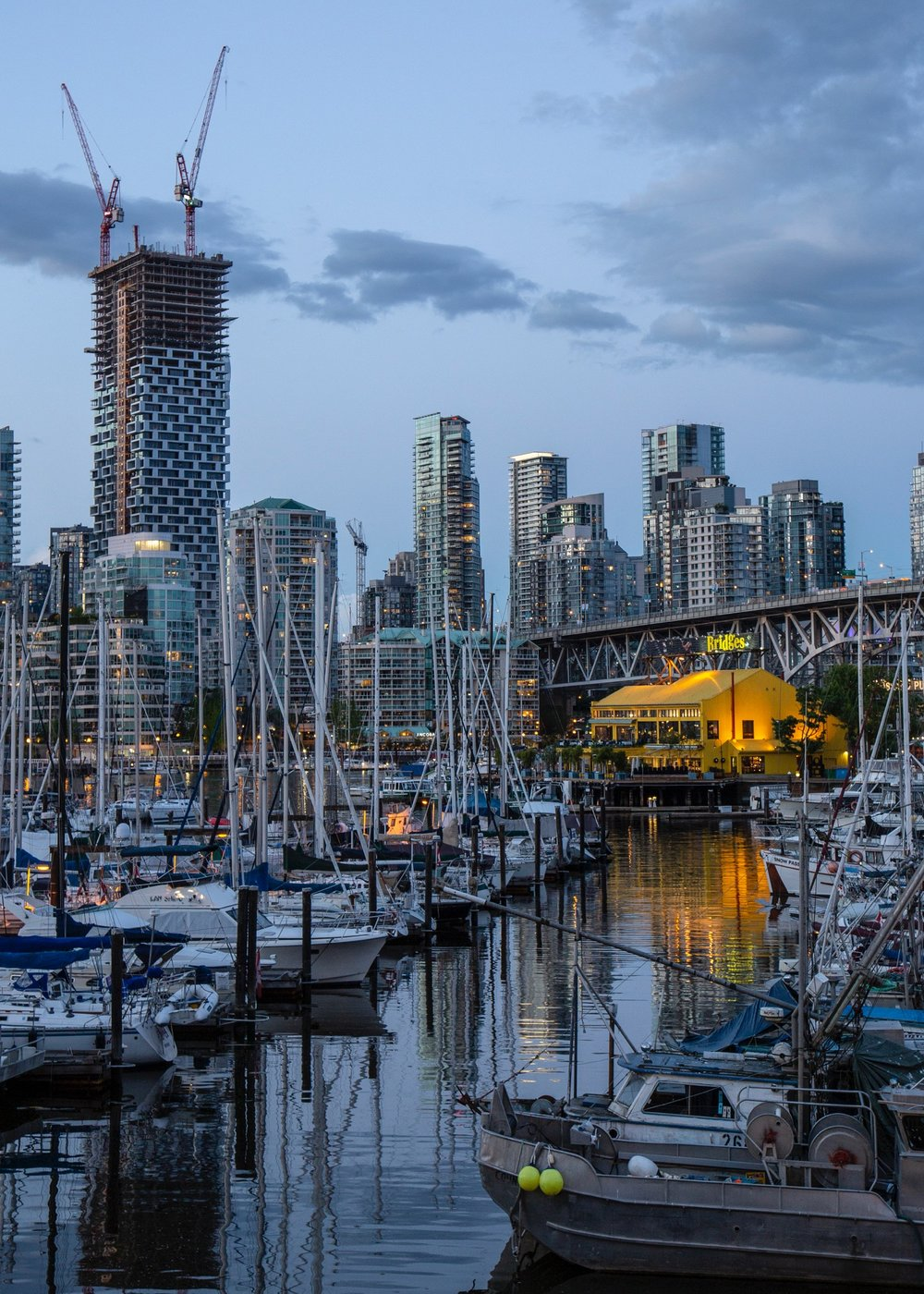 A nice look back at Granville Island. You get a different perspective on our funky new building. We had just about lost all of the colour from the sunset.