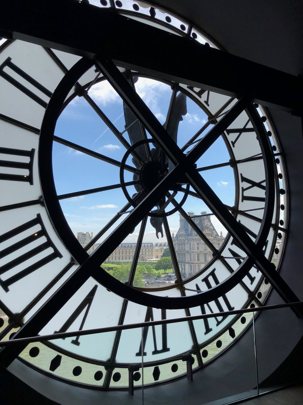 The famous clock face inside the Musee D'Orsay, looking out over the Louvre.