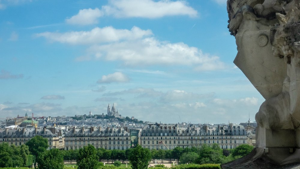 A view out the windows across to Sacre Couer