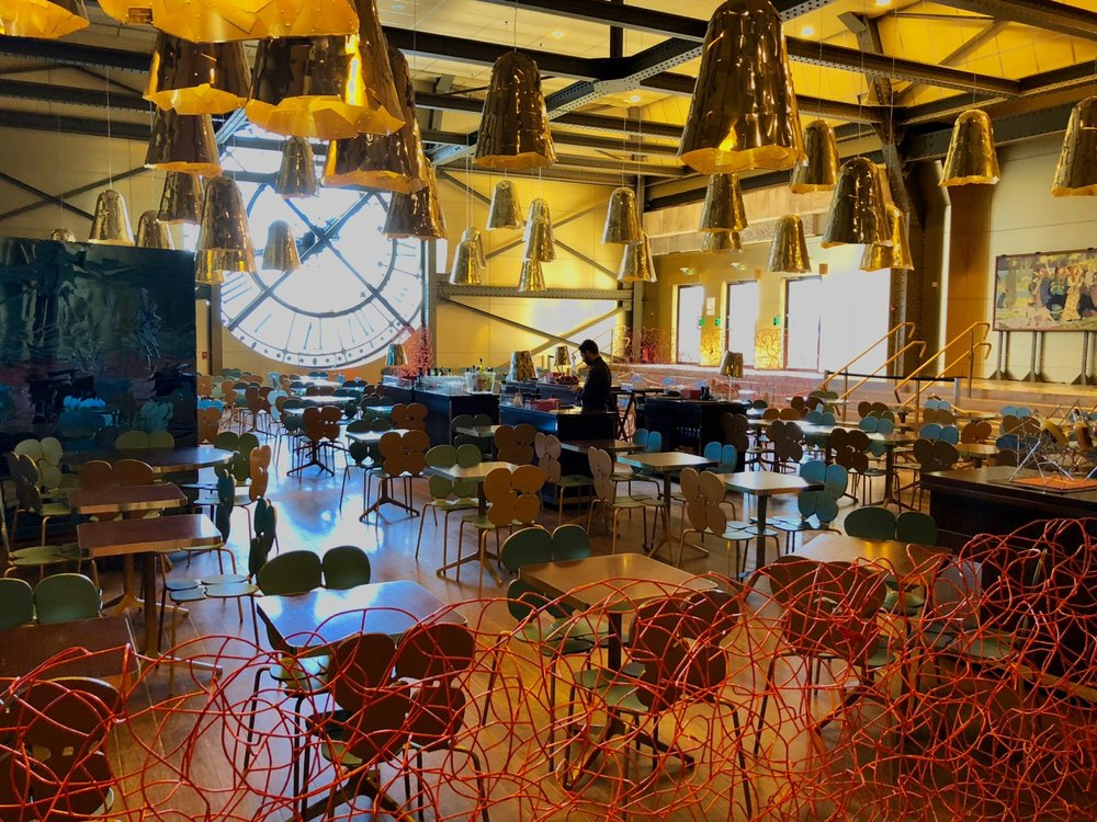 The very cool cafe at the top of the museum.