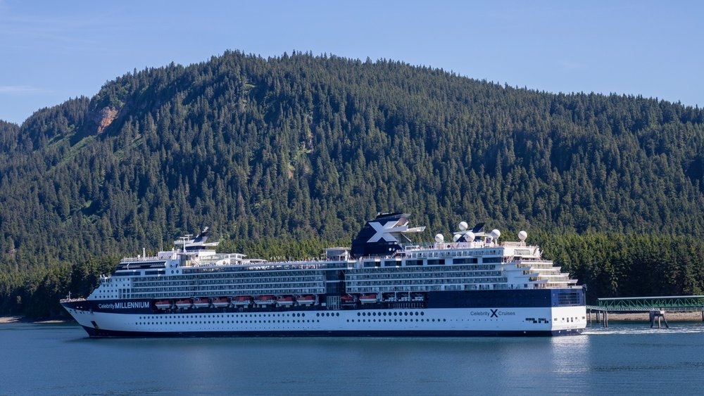 The Celebrity Millennium at dock in Icy Strait Point.