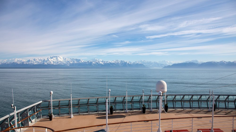 A view off the front of the ship, as we headed into the fjord.