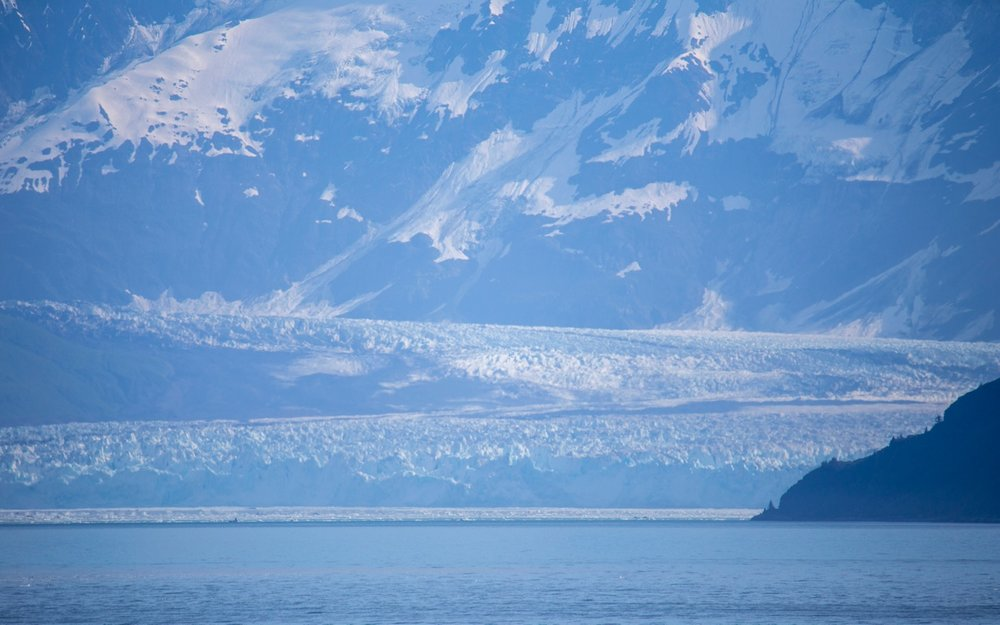 Our first view of the Hubbard Glacier, from a good 10 miles out.