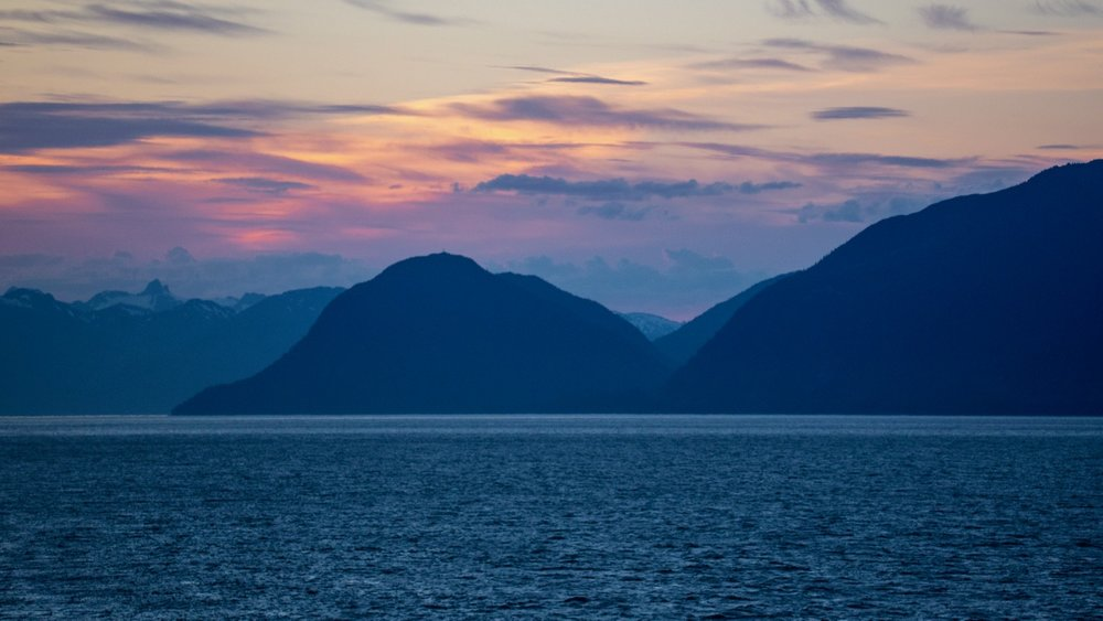 Sunset as we headed out from Juneau.