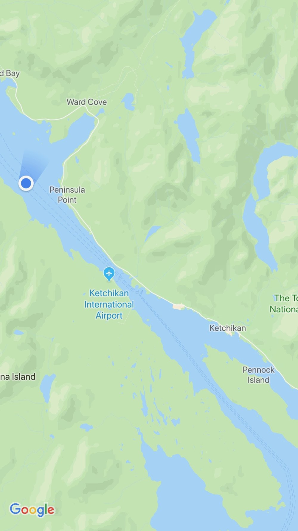 Our spot on the map as we came into Ketchikan