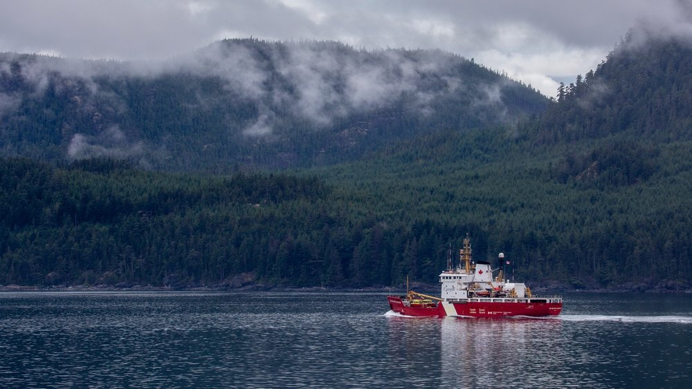 The Canadian Coast Guard out on patrol.